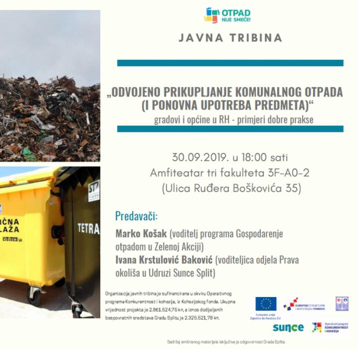 NAJAVA TRIBINE: Odvojeno prikupljanje komunalnog otpada (30. rujna u 18.00 sati, Amfiteatar tri fakulteta)